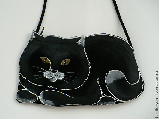 Женские сумки ручной работы. Ярмарка Мастеров - ручная работа. Купить Сумочка-кармашек Black cat. Handmade. Сумка, кот