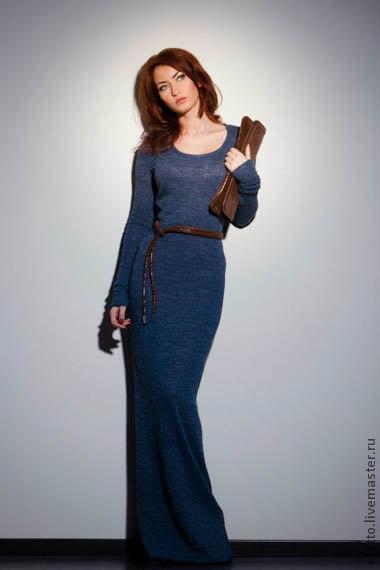 Платья ручной работы. Ярмарка Мастеров - ручная работа. Купить Трикотажное платье в пол Eletto. Handmade. Синий, платье на заказ
