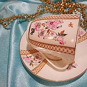 Кружки винтажные ручной работы. Ярмарка Мастеров - ручная работа ЛФЗ чайная кофейная пара костяной фарфор, красное клеймо. Handmade.