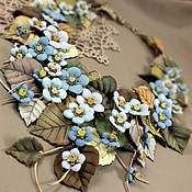Украшения handmade. Livemaster - original item Morning Valley Of The Forget-Me-Nots. Necklace. Genuine leather. Handmade.