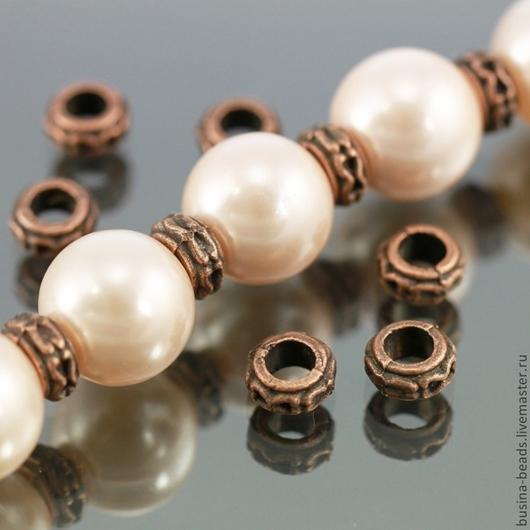 Бусины металлические Кольцо с покрытием античная медь для сборки украшений комплектами по 10 бусин\r\nПример использования в качестве разделителей бусин
