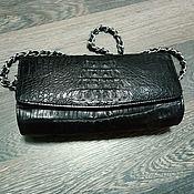 Сумки и аксессуары handmade. Livemaster - original item Women`s Caiman leather clutch, in black, on a chain.. Handmade.