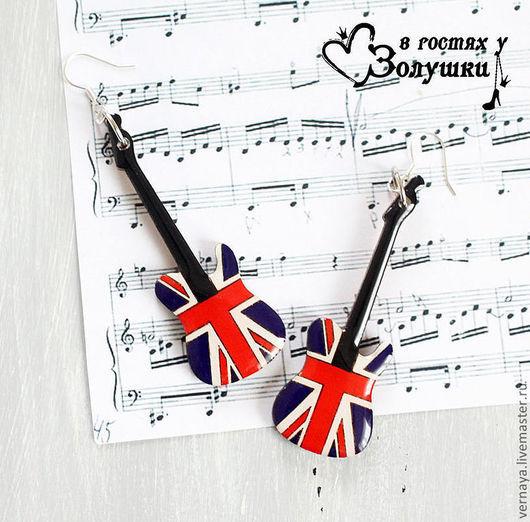 """Серьги ручной работы. Ярмарка Мастеров - ручная работа. Купить Серьги """"Британский флаг в виде гитары"""". Handmade. Британский флаг"""
