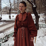 Одежда ручной работы. Ярмарка Мастеров - ручная работа Платье с клетчатой кокеткой йодовое. Handmade.