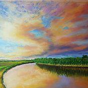 Картины ручной работы. Ярмарка Мастеров - ручная работа Рассвет над рекой. Handmade.