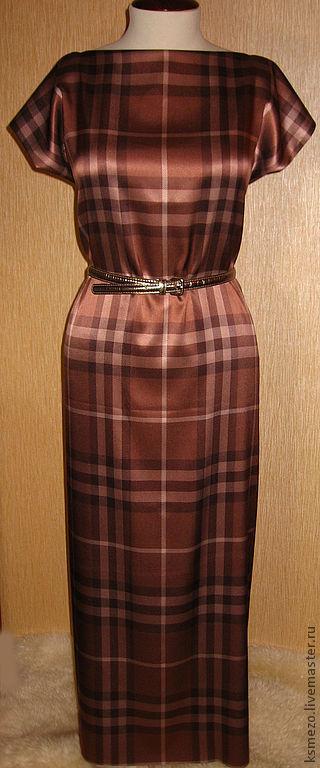 """Платья ручной работы. Ярмарка Мастеров - ручная работа. Купить ПЛАТЬЕ Burberry """"Шоко"""" Платье шёлковое на подкладке. Handmade."""