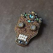 Украшения handmade. Livemaster - original item Day of the dead Memento mori jewelry Embroidery skull brooch. Handmade.