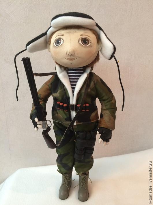 Коллекционные куклы ручной работы. Ярмарка Мастеров - ручная работа. Купить Охотник. Handmade. Болотный, ружье, натуральная кожа