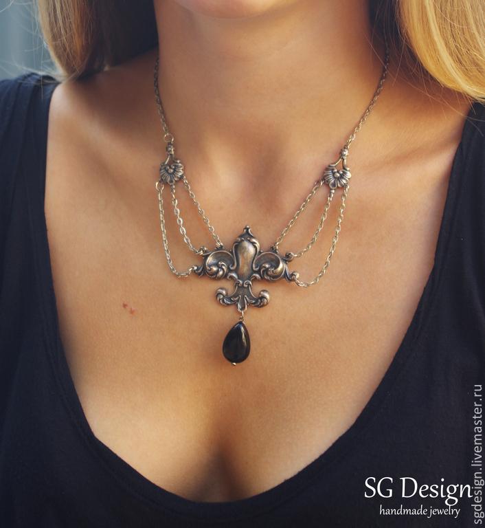 Necklace 'Priscilla' Black onyx, Necklace, Yalta,  Фото №1