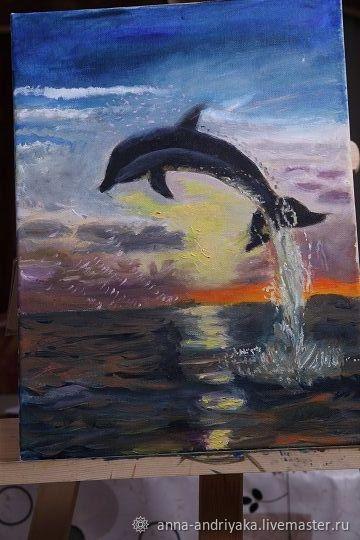 Дельфин выпрыгивает из воды, Картины, Москва,  Фото №1