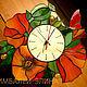"""Часы для дома ручной работы. Ярмарка Мастеров - ручная работа. Купить Витражные часы """"Маки души...."""". Handmade."""