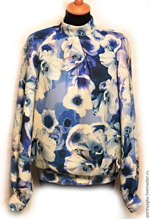 Блузки ручной работы. Ярмарка Мастеров - ручная работа. Купить Блузка Синие цветы. Handmade. Синий, синий цвет