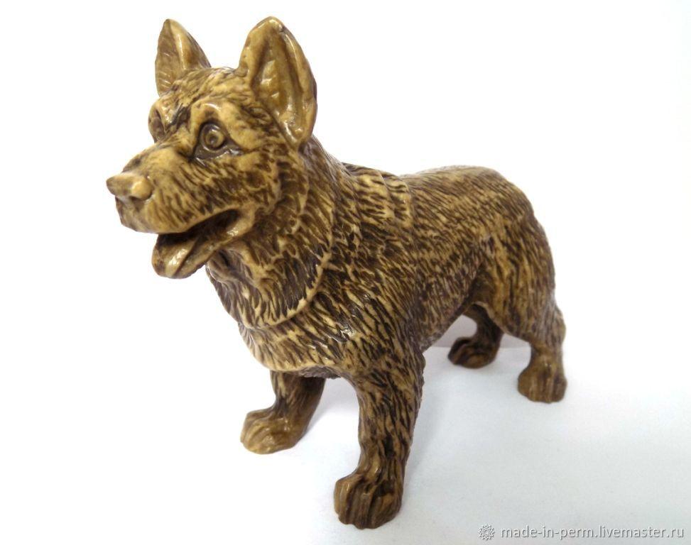 Собака Немецкая овчарка - статуэтка из камня Кальцит, Статуэтки, Орда,  Фото №1