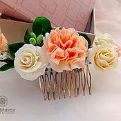Свадебный салон ручной работы. Ярмарка Мастеров - ручная работа Гребень гвоздика и розы. Handmade.