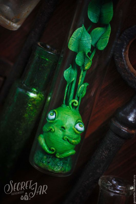 """Сказочные персонажи ручной работы. Ярмарка Мастеров - ручная работа. Купить Зеленый малютка """"Глоу"""". Handmade. Ярко-зелёный, глоу"""