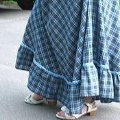 """Одежда ручной работы. Ярмарка Мастеров - ручная работа """"Серо-голубая """"  юбка бохо в клетку длинная. Handmade."""