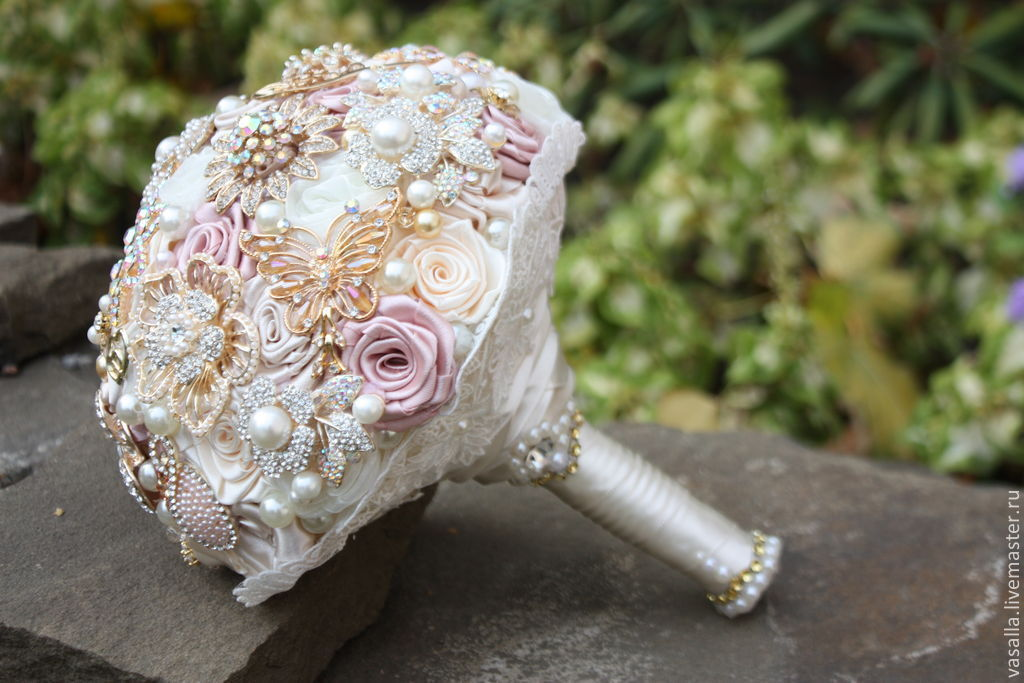 Brooch-Bouquet 'Nellie'.Wedding brooch bouquet cream color, Wedding bouquets, Moscow,  Фото №1