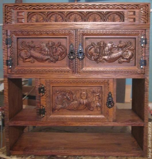 Мебель ручной работы. Ярмарка Мастеров - ручная работа. Купить Шкафчик резной деревянный. Handmade. Коричневый, полка из дерева, оберег