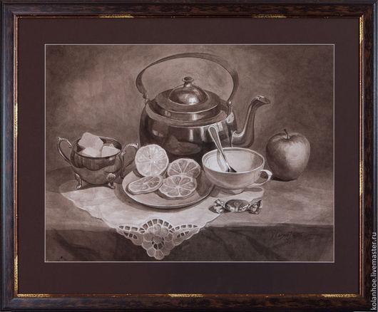 Натюрморт ручной работы. Ярмарка Мастеров - ручная работа. Купить Время для чая (tea time). Handmade. Натюрморт, акварель, яблоко