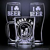 Кружки ручной работы. Ярмарка Мастеров - ручная работа Кружка для пива Today i`m irish. Handmade.