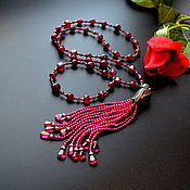 Украшения handmade. Livemaster - original item Sotuar Necklace with a tassel Red spinel CRIMSON Natural sapphire. Handmade.