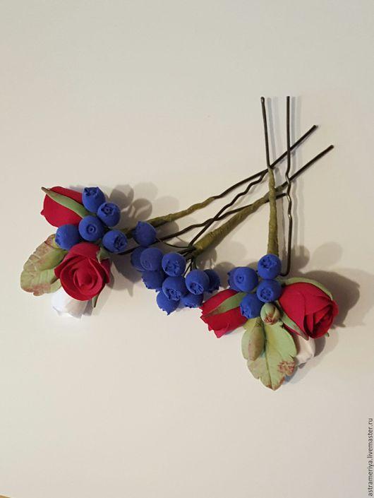 Свадебные украшения ручной работы. Ярмарка Мастеров - ручная работа. Купить Шпильки для волос с розочками бордовыми из полимерной глины. Handmade.