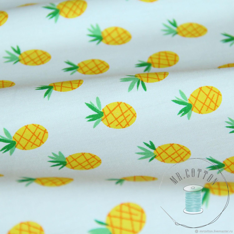 Ткань с изображением ананасов. Сатин. 100% хлопок, Шитье, Москва, Фото №1