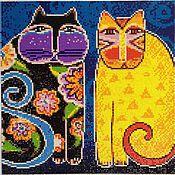 """Картины и панно ручной работы. Ярмарка Мастеров - ручная работа Алмазная живопись, вышивка стразами """"Коты"""". Handmade."""