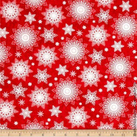 """Шитье ручной работы. Ярмарка Мастеров - ручная работа. Купить Новогодняя ткань """"Снежинки узорчатые на красном"""" для тильды, пэчворка. Handmade."""