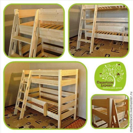 Мебель ручной работы. Ярмарка Мастеров - ручная работа. Купить Кровать 2-х ярусная деревянная с защитным бортиком. Handmade.
