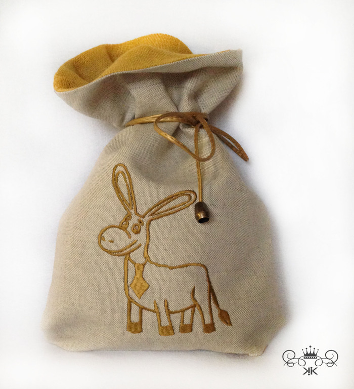Pouch flax Gold donkey and the monogram, , Moscow,  Фото №1