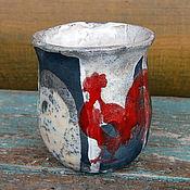 Посуда ручной работы. Ярмарка Мастеров - ручная работа Чашка керамическая раку  Красный петух. Handmade.
