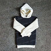 Одежда handmade. Livemaster - original item Sweater lambswool grey white hooded (No. №1). Handmade.
