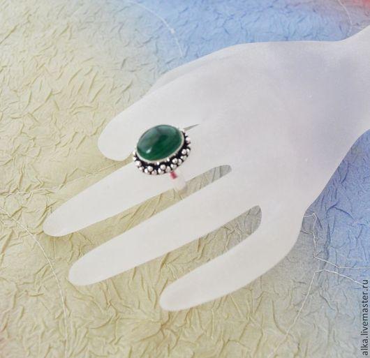 Кольца ручной работы. Ярмарка Мастеров - ручная работа. Купить кольцо с натуральным заирским малахитом в серебре. Handmade. Тёмно-зелёный