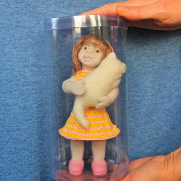 Dolls & toys handmade. Livemaster - original item Genia. The author`s felt doll with kitten.. Handmade.