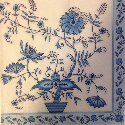 Салфетка для декупажа- голубая цветочная композиция и узоры Декупажная радость