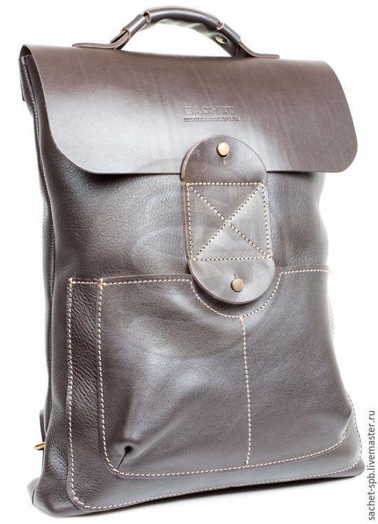 Рюкзаки ручной работы. Ярмарка Мастеров - ручная работа. Купить Рюкзак из кожи Спэйс коричневый. Handmade. Коричневый, кожаные рюкзаки