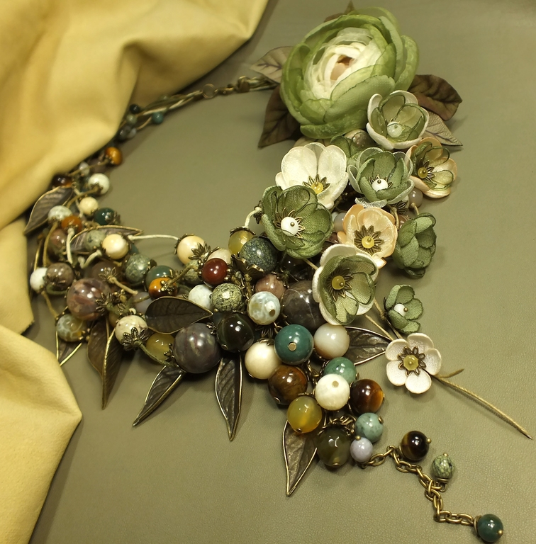 Dreams about an Olive Grove. Necklace, pendant, earrings, brooch, flower, flowers, Jewelry Sets, St. Petersburg,  Фото №1