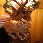 """""""Сказки учёного кота"""".Светильник-ночник керамический."""