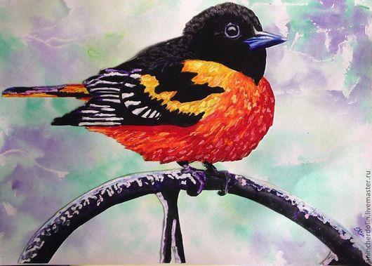 """Животные ручной работы. Ярмарка Мастеров - ручная работа. Купить """"Птичка невеличка"""". Handmade. Птица на ветке, яркий, счастье, позитив"""