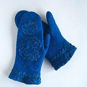 Аксессуары handmade. Livemaster - original item Women`s mittens felted Sea wave. Handmade.