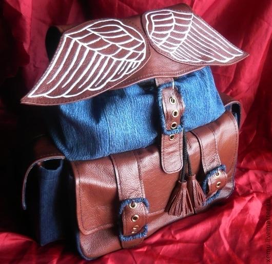 """Рюкзаки ручной работы. Ярмарка Мастеров - ручная работа. Купить Рюкзак Джинс+кожа """"Ангельские крылышки"""". Handmade. Однотонный, рюкзак женский"""