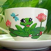 """Посуда ручной работы. Ярмарка Мастеров - ручная работа Чайная пара """"Малышка-лягушка"""" с декором полимерной глиной. Handmade."""