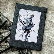 Канцелярские товары handmade. Livemaster - original item Cover for a passport with the Raven. Handmade.