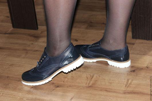 Обувь ручной работы. Ярмарка Мастеров - ручная работа. Купить Туфли Оксфорды. Handmade. Чёрно-белый, обувь на заказ