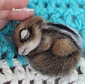 Украшения handmade. Livemaster - original item Copyright felted brooch baby Chipmunk. Handmade.
