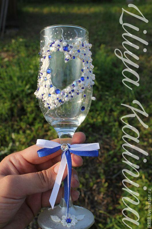 Свадебные аксессуары ручной работы. Ярмарка Мастеров - ручная работа. Купить Бокалы свадебные. Бело-синяя свадьба. Handmade. Белый