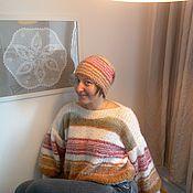 """Одежда ручной работы. Ярмарка Мастеров - ручная работа Пушистый комплект """"Полосатик"""": свитер, шапочка и шарфик. Handmade."""