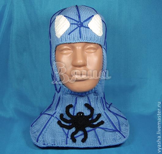 Шапки и шарфы ручной работы. Ярмарка Мастеров - ручная работа. Купить Шапка - шлем зимняя Человек-Паук вязаная, для мальчиков. Handmade.