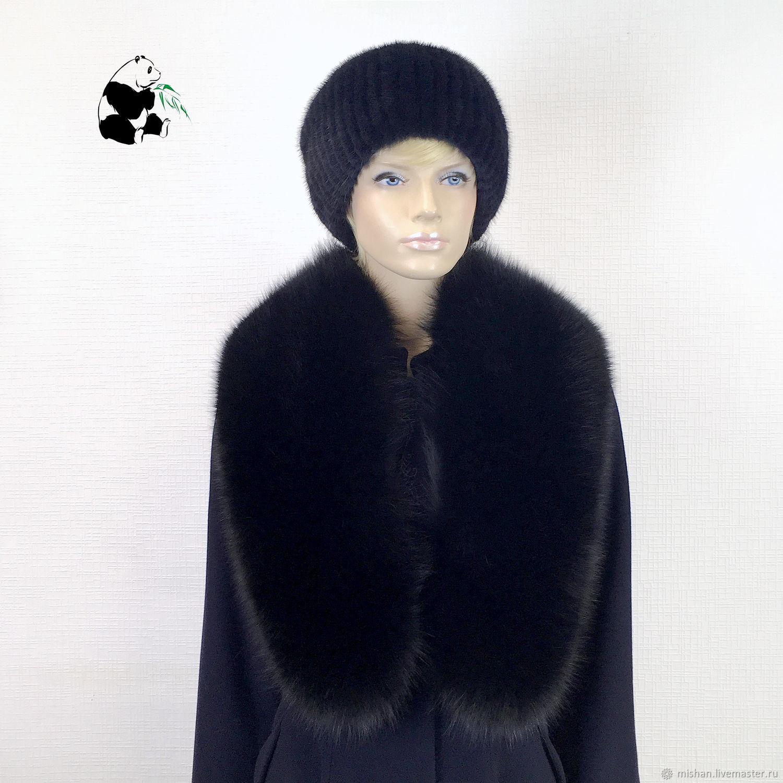 Fur detachable collar boa Fox fur. Black, Collars, Ekaterinburg,  Фото №1